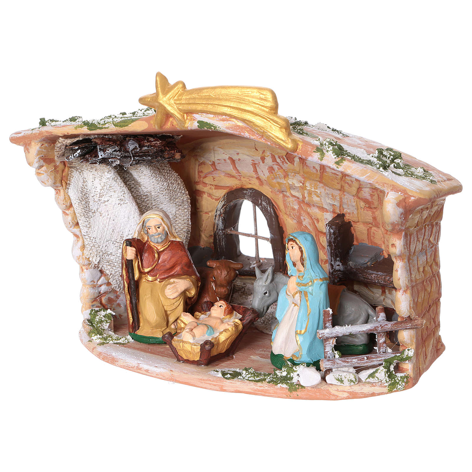 Terracotta hut painted with Nativity scene 8 cm 20x20x15 cm 4