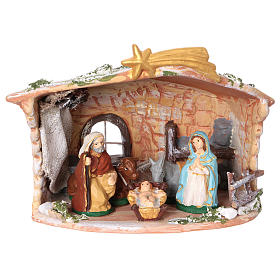 Terracotta hut painted with Nativity scene 8 cm 20x20x15 cm s1
