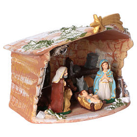 Terracotta hut painted with Nativity scene 8 cm 20x20x15 cm s4