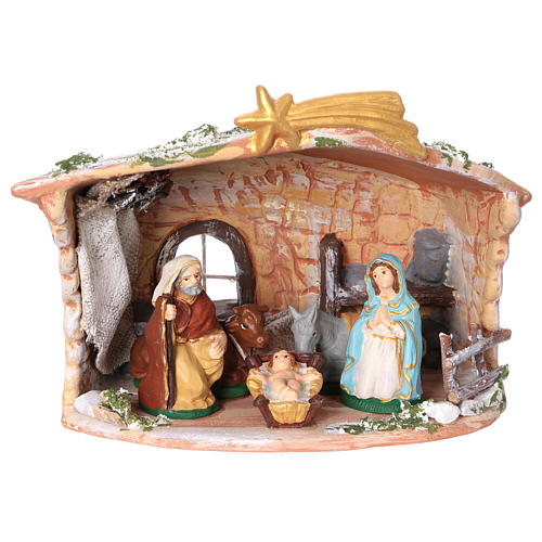 Terracotta hut painted with Nativity scene 8 cm 20x20x15 cm 1