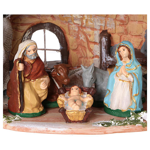 Terracotta hut painted with Nativity scene 8 cm 20x20x15 cm 2