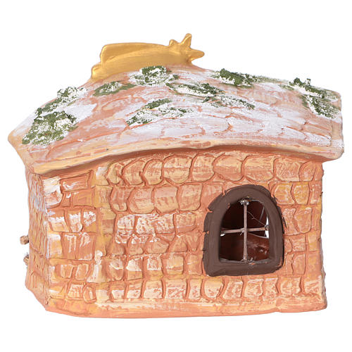Terracotta hut painted with Nativity scene 8 cm 20x20x15 cm 5