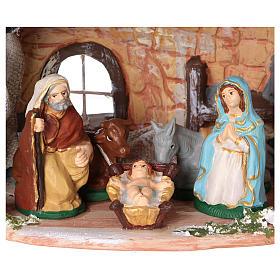 Capanna in terracotta dipinta con natività 8 cm 20x20x15 cm s2