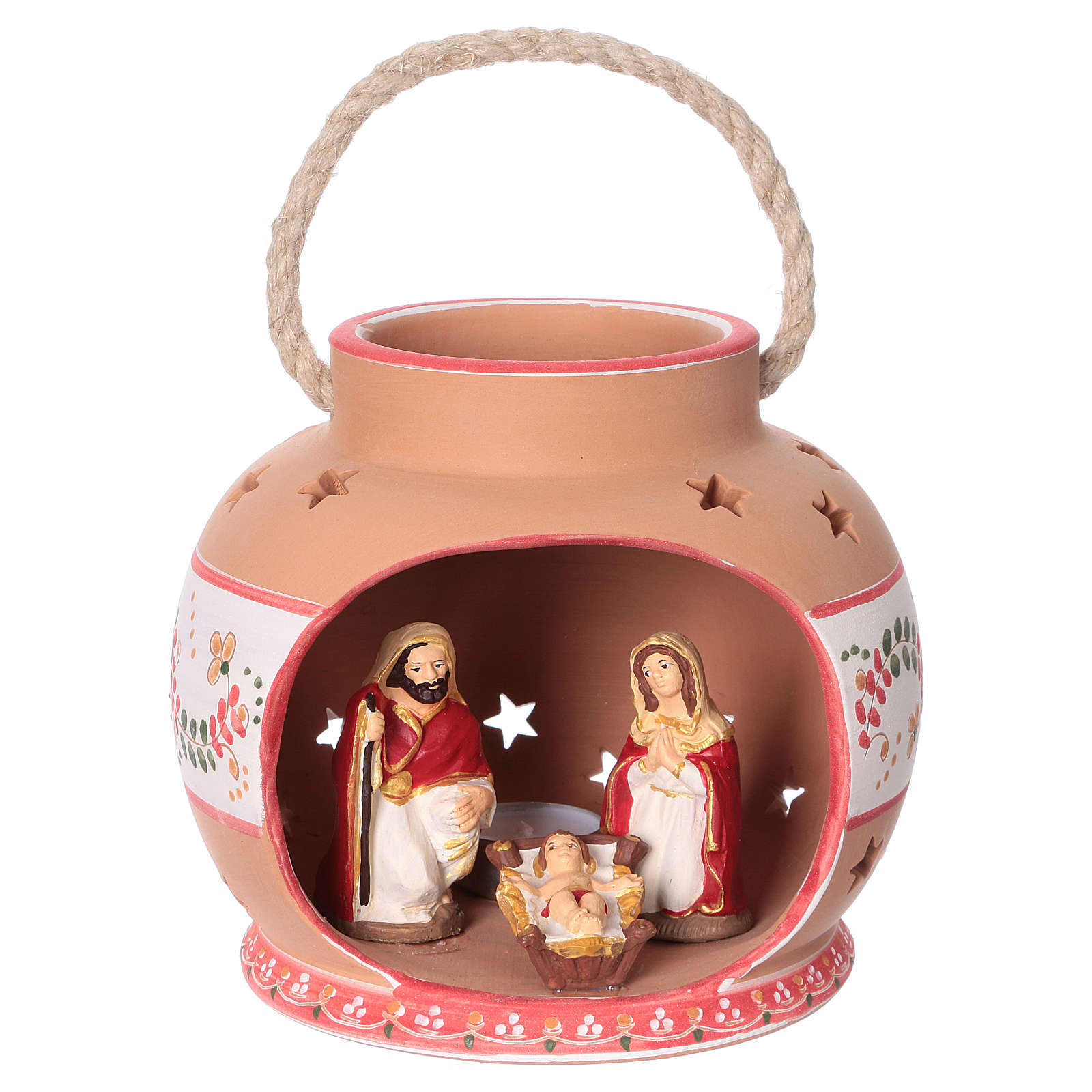 Spherical lantern with star-shaped holes, red decorations and Nativity scene of 9 cm 15x20x20 cm 4