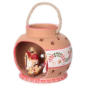 Spherical lantern with star-shaped holes, red decorations and Nativity scene of 9 cm 15x20x20 cm s3