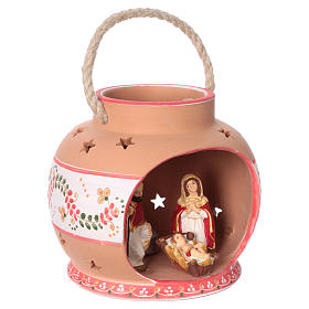 Spherical lantern with star-shaped holes, red decorations and Nativity scene of 9 cm 15x20x20 cm s4