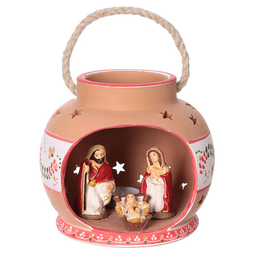Spherical lantern with star-shaped holes, red decorations and Nativity scene of 9 cm 15x20x20 cm 1