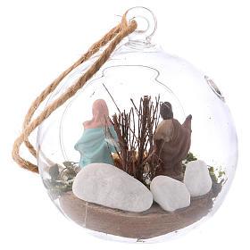 Nativity scene of 4 cm in Deruta terracotta made inside a glass sphere 10x10x10 cm s3