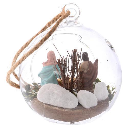 Nativity scene of 4 cm in Deruta terracotta made inside a glass sphere 10x10x10 cm 3