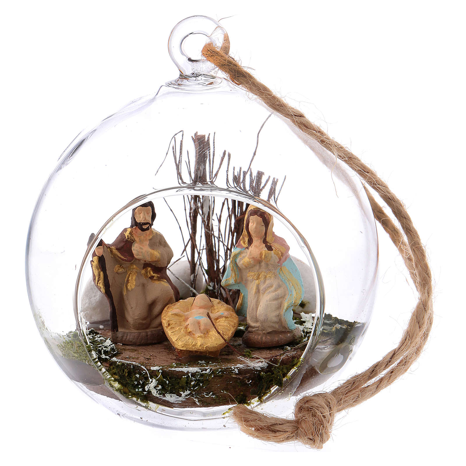 Belén 4 cm terracota Deruta en el interior de una esfera de vidrio 10x10x10 cm 4