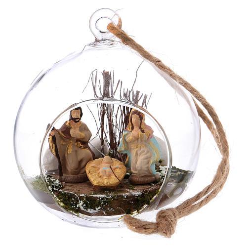 Crèche 4 cm terre cuite Deruta dans boule en verre 10x10x10 cm 1