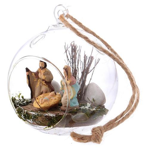 Crèche 4 cm terre cuite Deruta dans boule en verre 10x10x10 cm 2
