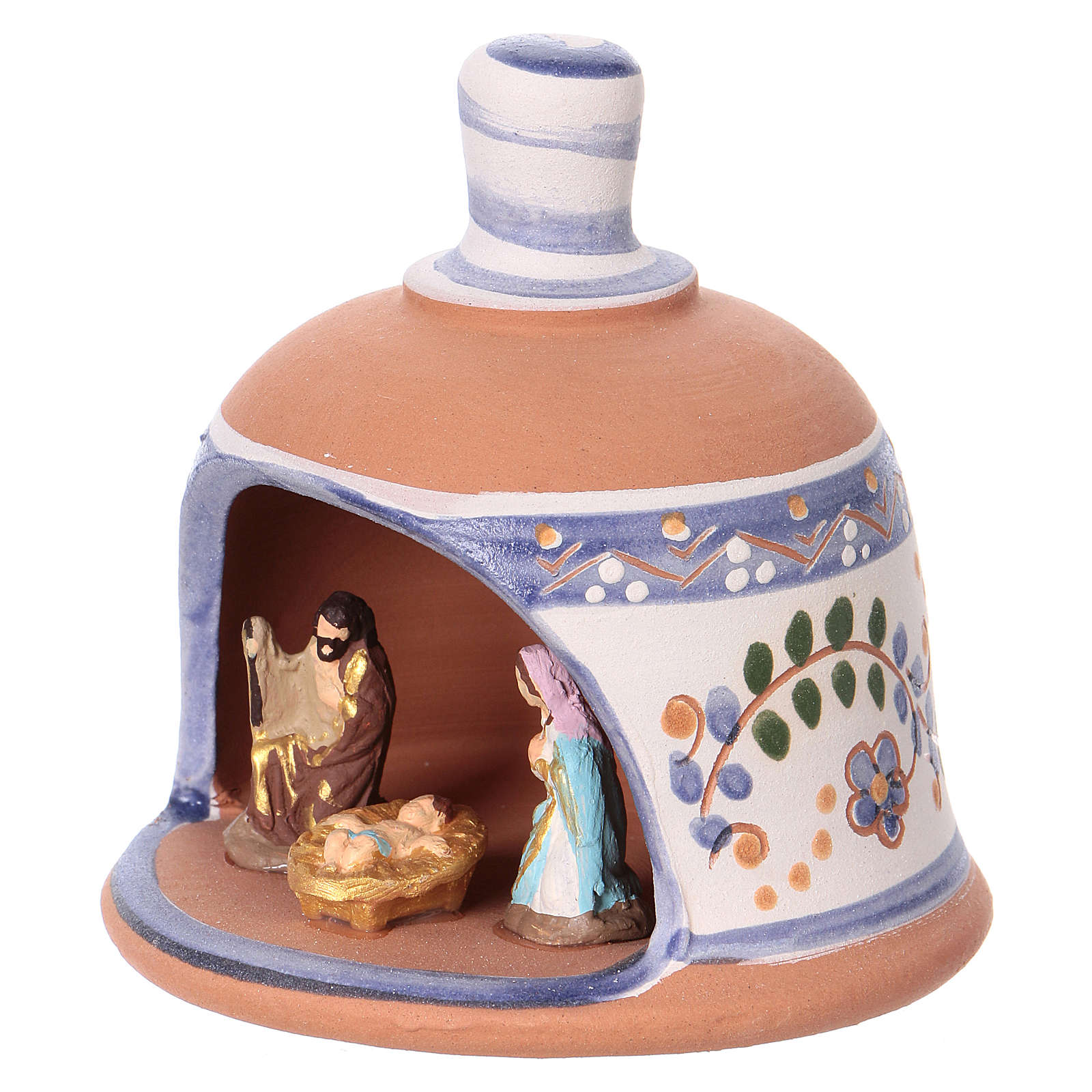 Shed in the shape of a bell with Nativity 3 cm with blue decorations 10x10x10 cm in Deruta terracotta 4