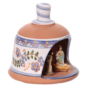 Shed in the shape of a bell with Nativity 3 cm with blue decorations 10x10x10 cm in Deruta terracotta s2