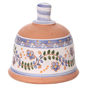 Shed in the shape of a bell with Nativity 3 cm with blue decorations 10x10x10 cm in Deruta terracotta s4
