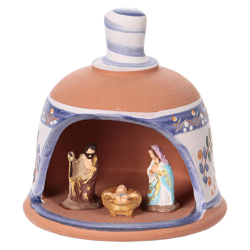 Shed in the shape of a bell with Nativity 3 cm with blue decorations 10x10x10 cm in Deruta terracotta 1