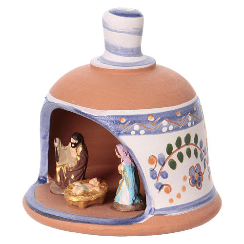 Shed in the shape of a bell with Nativity 3 cm with blue decorations 10x10x10 cm in Deruta terracotta 3