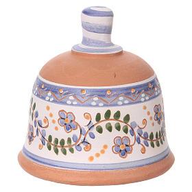 Capannina forma di campana natività 3 cm decori blu 10x10x10 cm terracotta Deruta s4