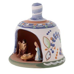 Capannina forma di campana natività 3 cm decori blu 10x10x10 cm terracotta Deruta s2
