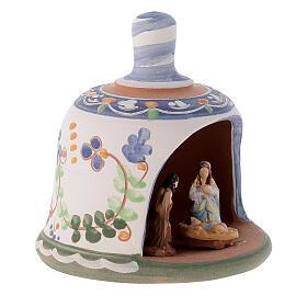 Capannina forma di campana natività 3 cm decori blu 10x10x10 cm terracotta Deruta s3