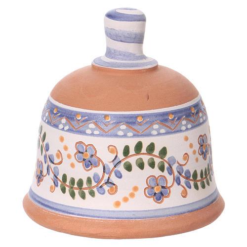 Capannina forma di campana natività 3 cm decori blu 10x10x10 cm terracotta Deruta 4