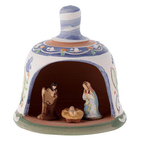 Capannina forma di campana natività 3 cm decori blu 10x10x10 cm terracotta Deruta 1