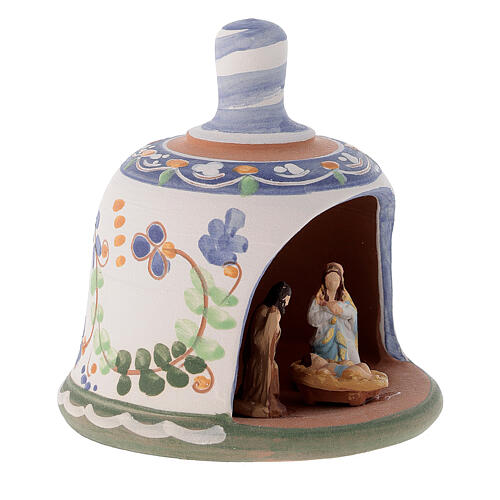 Capannina forma di campana natività 3 cm decori blu 10x10x10 cm terracotta Deruta 3