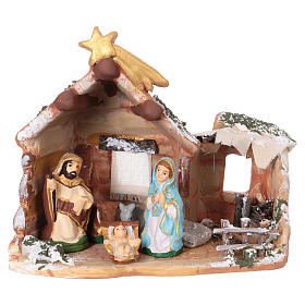 Hut 15x15x10 cm with Nativity scene 6 cm in painted terracotta from Deruta s1