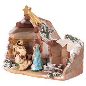 Hut 15x15x10 cm with Nativity scene 6 cm in painted terracotta from Deruta s2