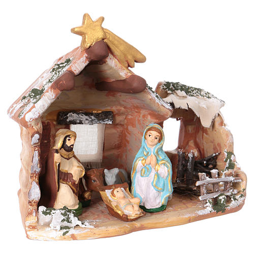 Hut 15x15x10 cm with Nativity scene 6 cm in painted terracotta from Deruta 3