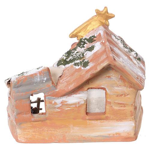 Hut 15x15x10 cm with Nativity scene 6 cm in painted terracotta from Deruta 4