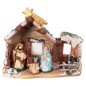 Crèches de Noël terre cuite Deruta: Cabane 15x15x10 cm avec nativité 6 cm en terre cuite peinte Deruta