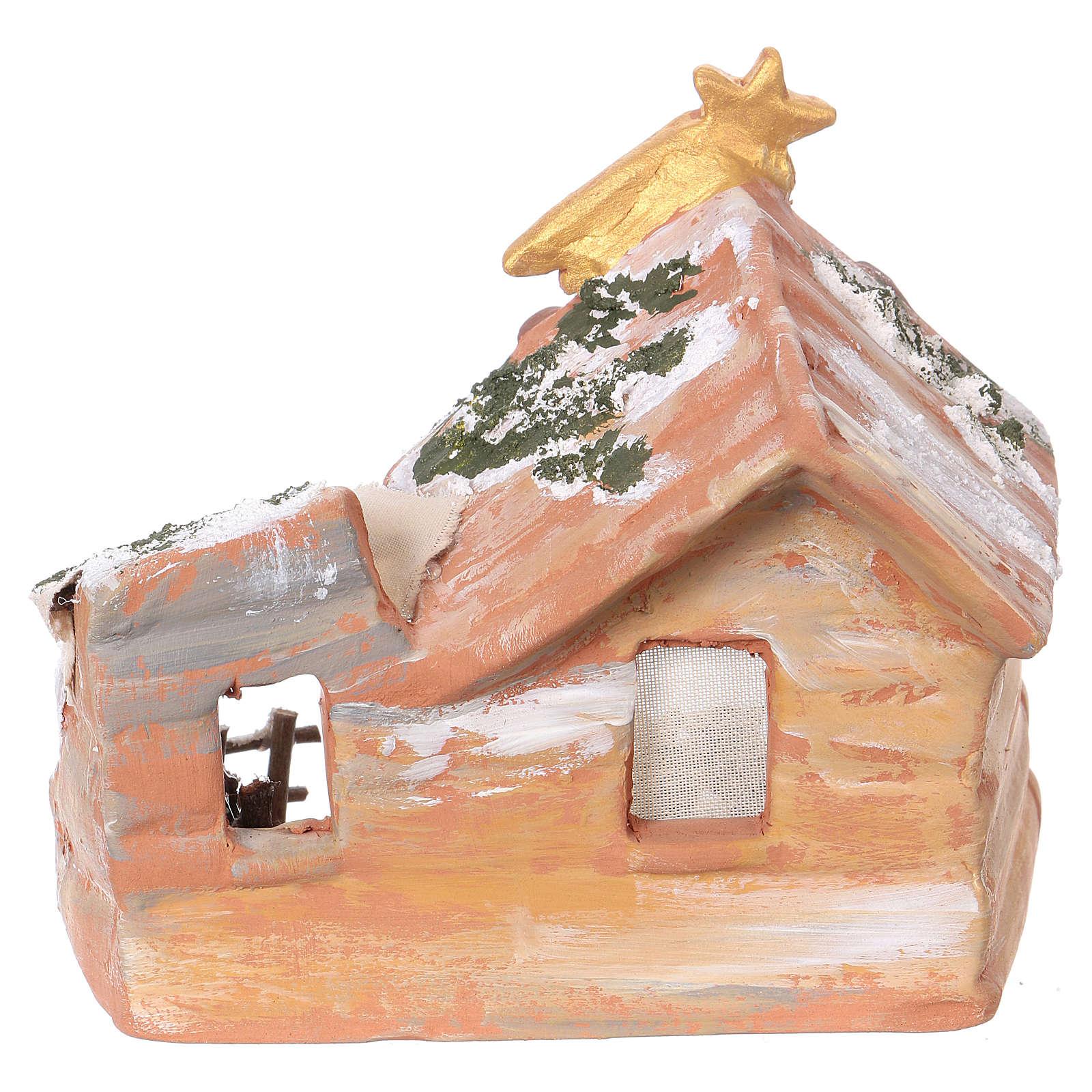 Capanna 15x15x10 cm con natività 6 cm in terracotta dipinta Deruta 4