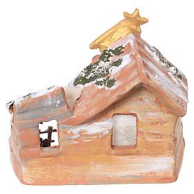 Capanna 15x15x10 cm con natività 6 cm in terracotta dipinta Deruta s4