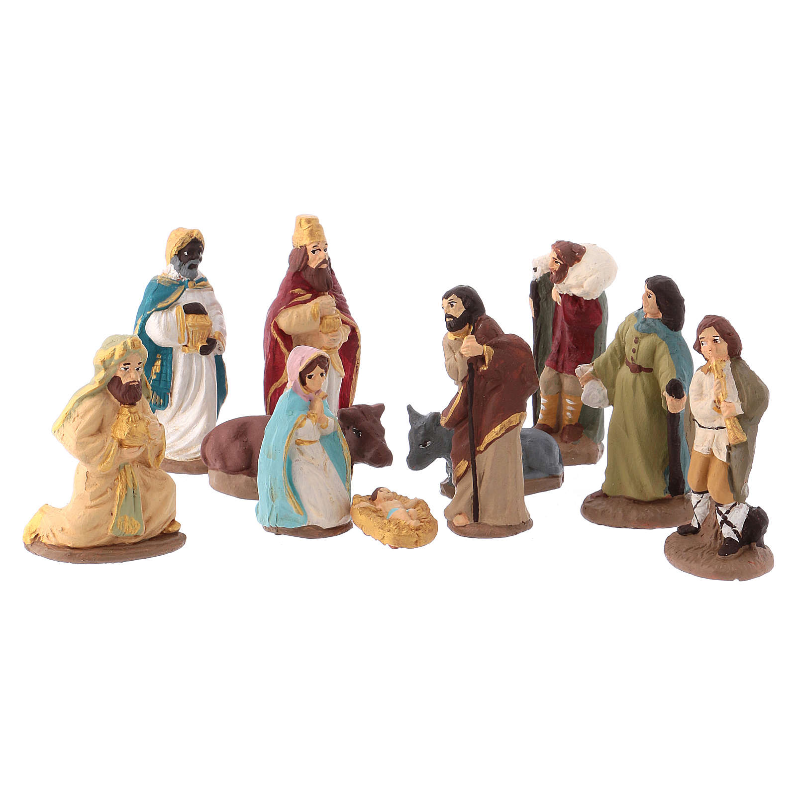 Complete Nativity set 6 cm, in painted Deruta terracotta 11 pcs 4