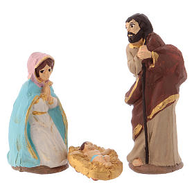 Complete Nativity set 6 cm, in painted Deruta terracotta 11 pcs s2