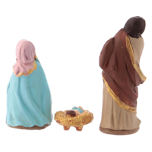 Complete Nativity set 6 cm, in painted Deruta terracotta 11 pcs 6