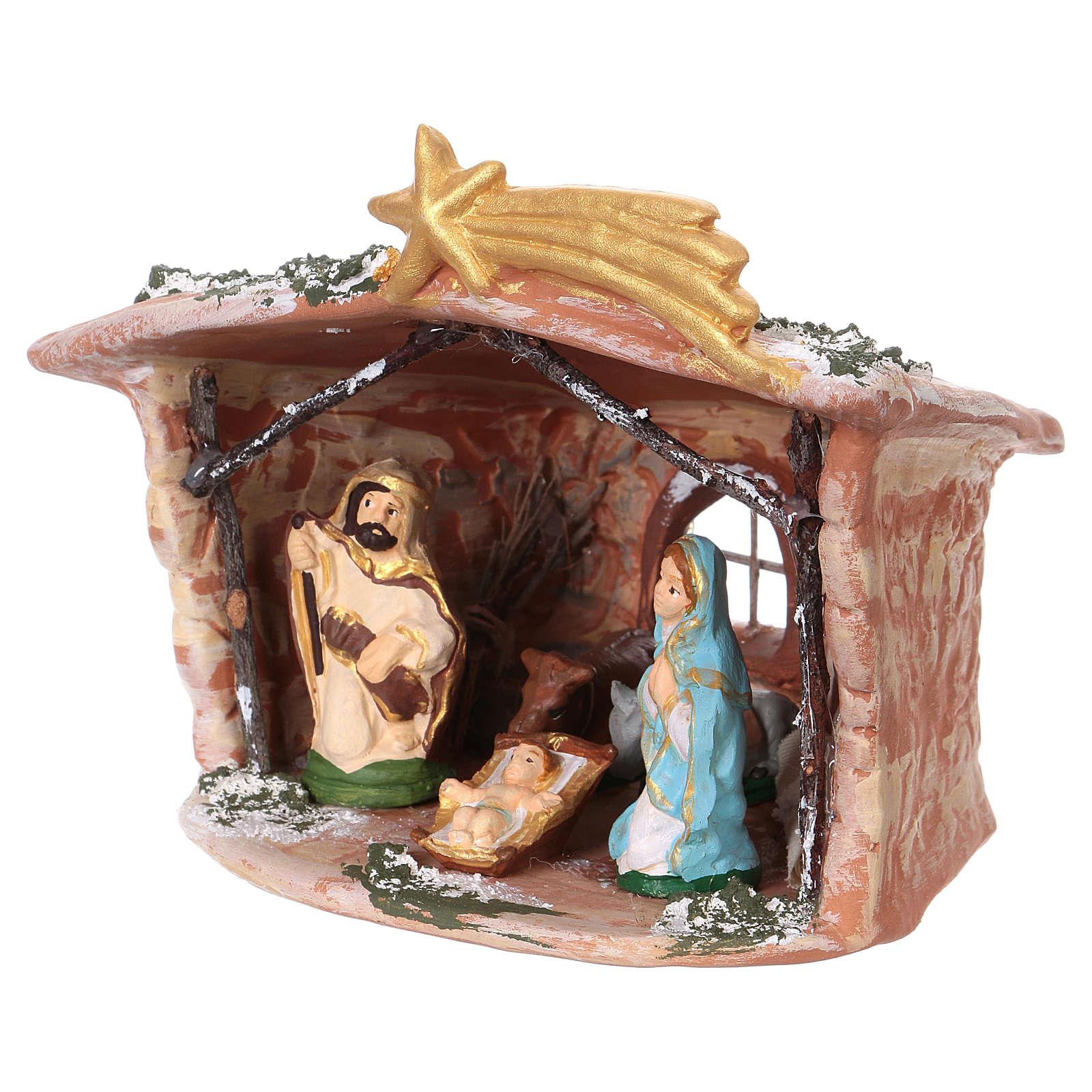Hut in Deruta terracotta 15x15x10cm with Nativity Scene 7 cm 4