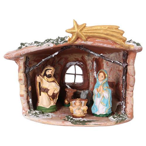 Hut in Deruta terracotta 15x15x10cm with Nativity Scene 7 cm 1