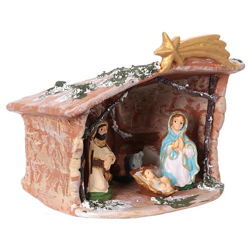Hut in Deruta terracotta 15x15x10cm with Nativity Scene 7 cm 2