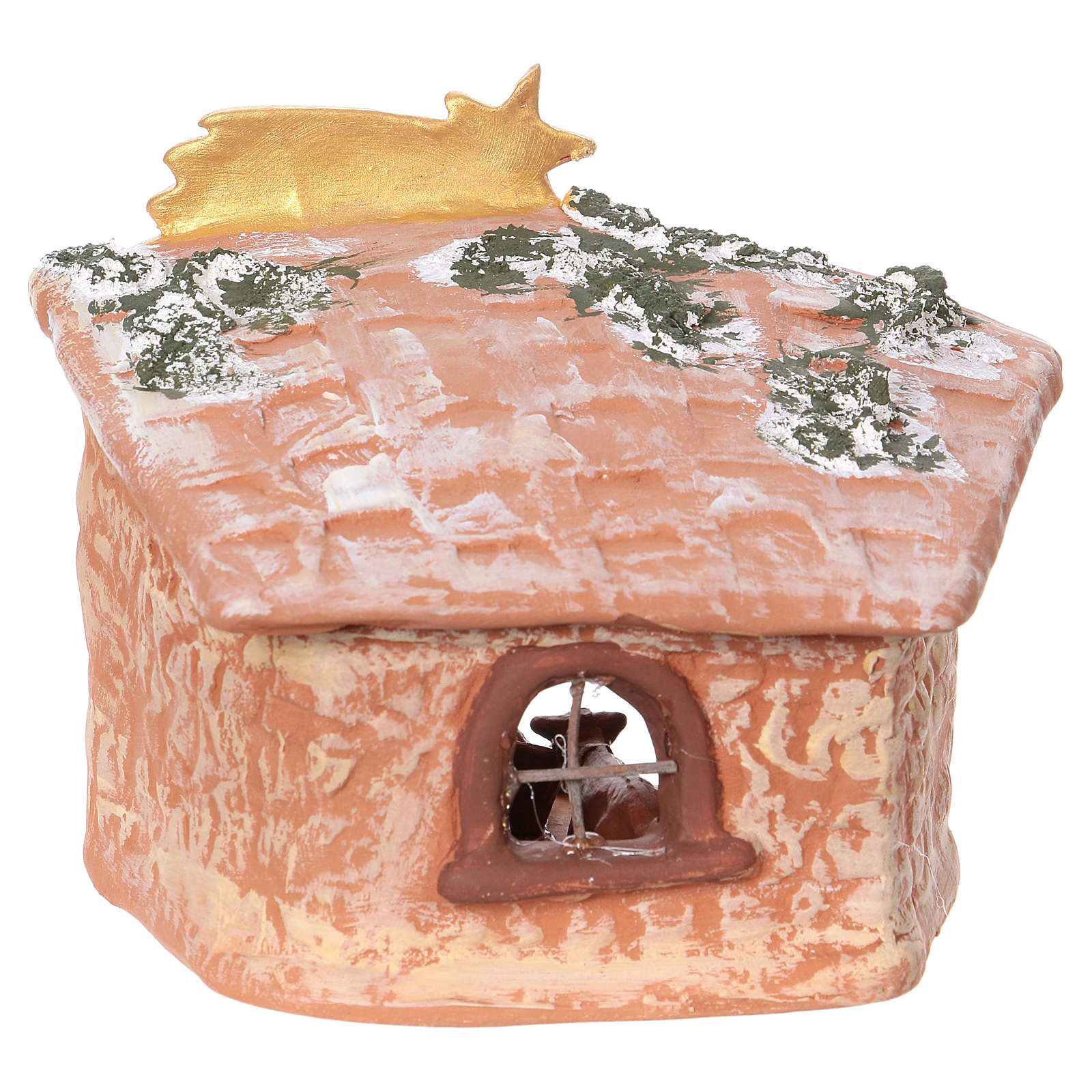 Cabaña 15x15x10 cm de terracota Deruta cm con natividad 7 cm 4