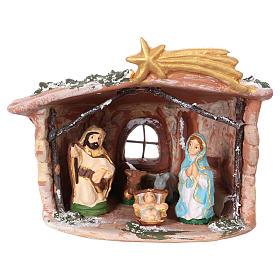 Crèches de Noël terre cuite Deruta: Cabane 15x15x10 cm en terre cuite Deruta avec nativité 7 cm