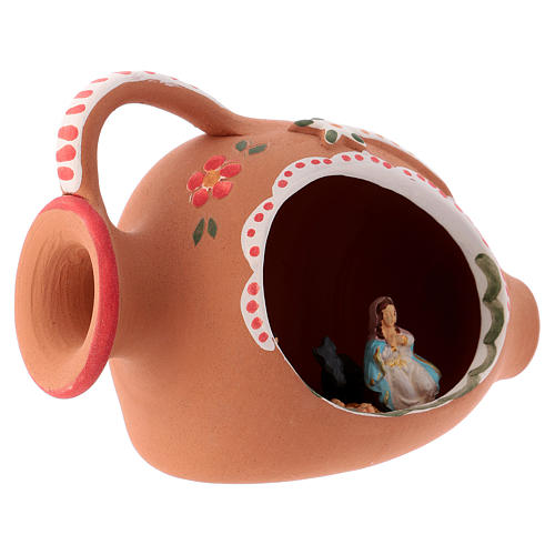 Nativity Scene of 3 cm obtained inside an amphora in terracotta 10x15x10 cm with red decoration 3