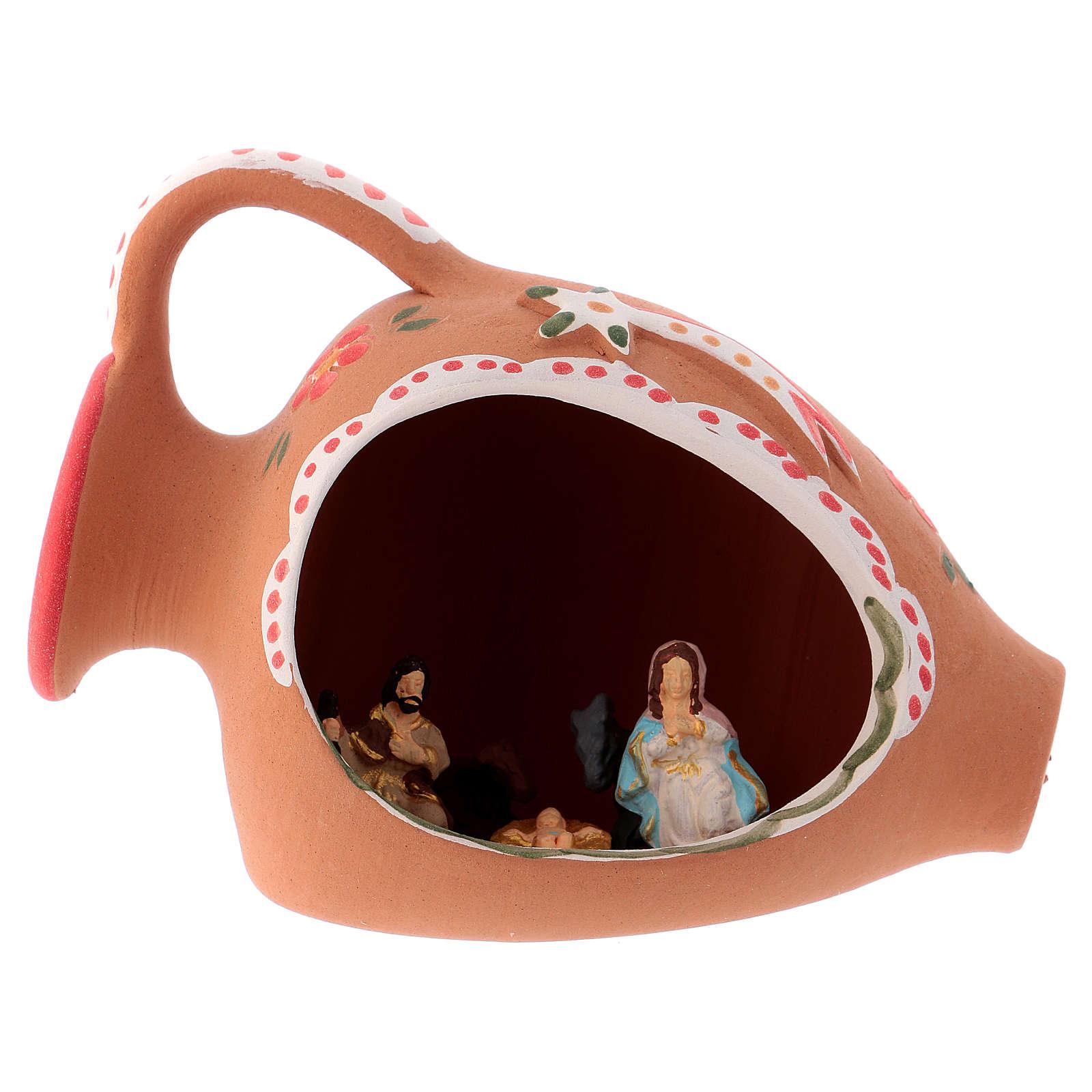Natividade num jarra terracota 10x15x10 cm decorações vermelhas para presépio com peças de 3 cm de altura média 4