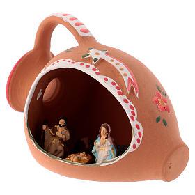 Natividade num jarra terracota 10x15x10 cm decorações vermelhas para presépio com peças de 3 cm de altura média s2
