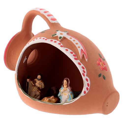 Natividade num jarra terracota 10x15x10 cm decorações vermelhas para presépio com peças de 3 cm de altura média 2