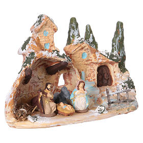 Hut with village in Deruta terracotta with Hol Family 3 cm 10x15x10 cm s2