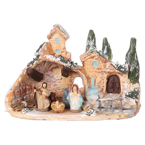 Hut with village in Deruta terracotta with Hol Family 3 cm 10x15x10 cm 1