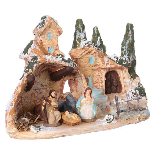 Hut with village in Deruta terracotta with Hol Family 3 cm 10x15x10 cm 2