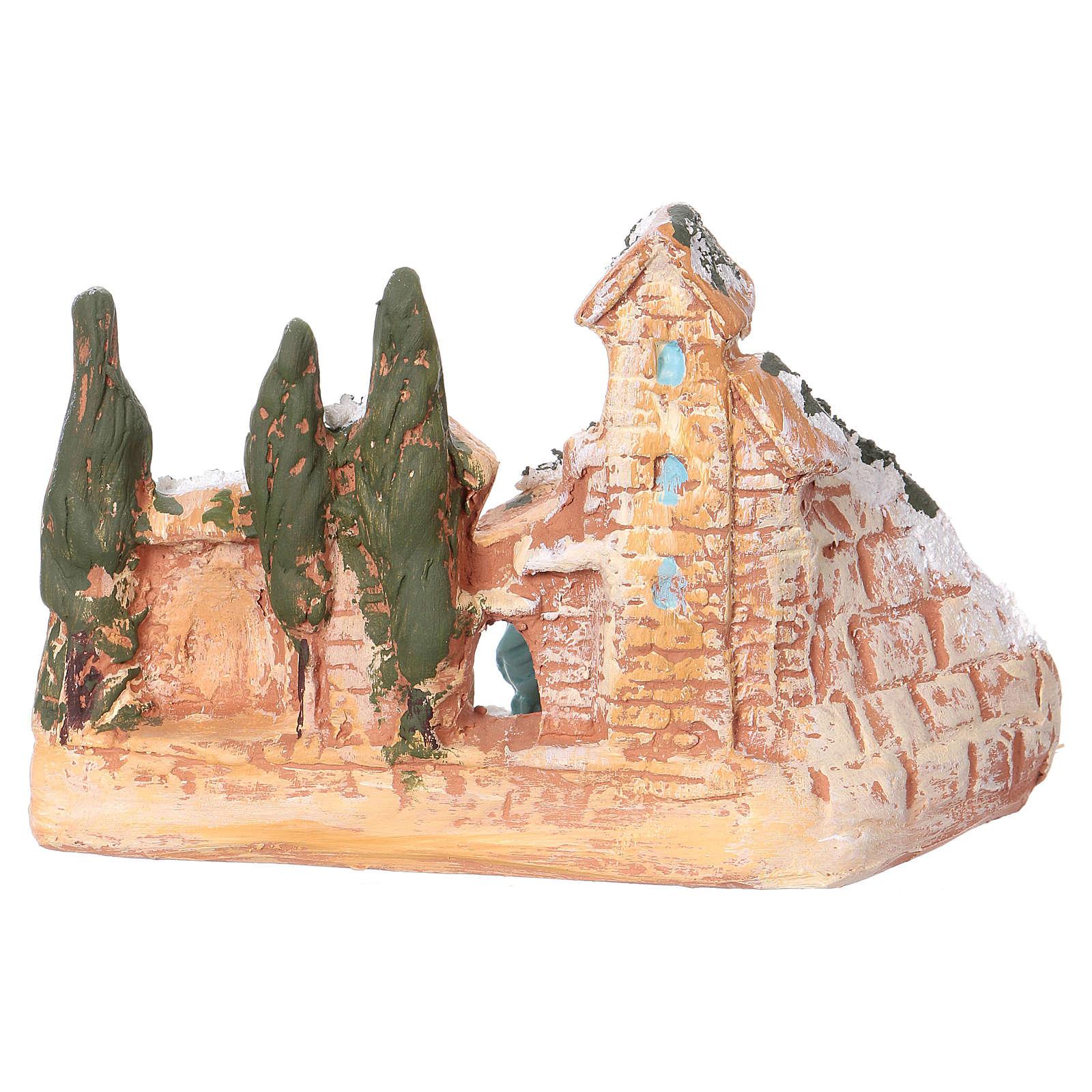 Cabane avec village terre cuite Deruta nativité 3 cm 10x15x10 cm 4